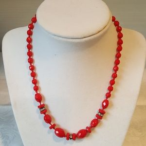 Red and black cut glass necklace